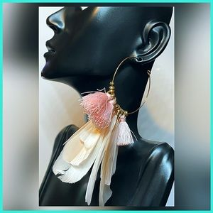 🏷 🆕 Noir Feather Dangle, Gold Hoop Earrings
